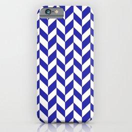 Herringbone (Navy Blue & White Pattern) iPhone Case