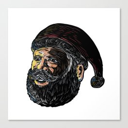 Santa Claus Three-Quarter View Scratchboard Canvas Print