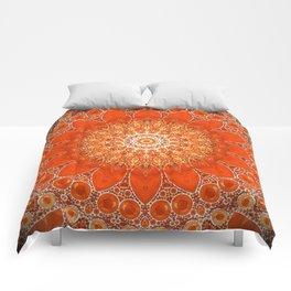 Detailed Orange Boho Mandala Comforters