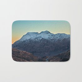 Sunset on a Snow Covered Mountain Photography Print Bath Mat