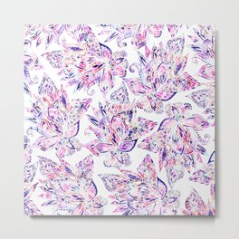 Purple pink watercolor gold chic floral paisley Metal Print