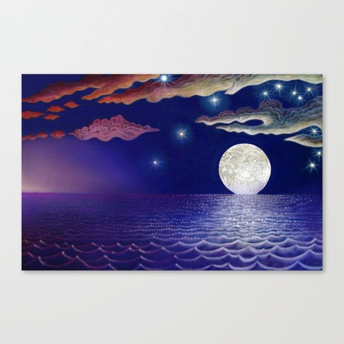 sunrise, moon, sea Canvas Print