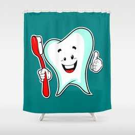 Dental Care happy Tooth with Toothbush Shower Curtain