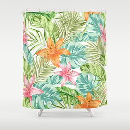 Tropical Flowers Pattern Shower Curtain