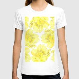 Yellow Peony Flower Pattern T-shirt