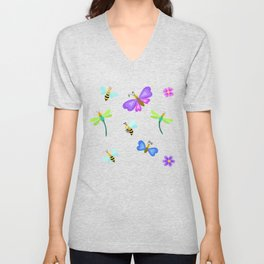 Butterflies, bees and dragonflies Unisex V-Neck