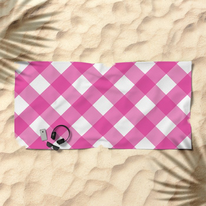 Pink & White Checkered Pattern-Mix and Match with Simplicity of Life on #Society6 Beach Towel