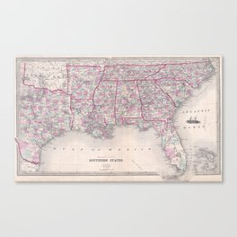 Vintage Map of The Southern United States (1868) Canvas Print