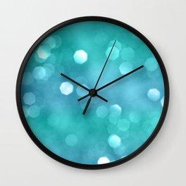 Aqua Blue OCEAN Bokeh #1 #shiny #decor #art #society6 Wall Clock