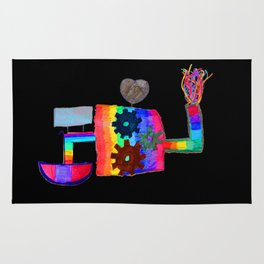 Colored fireworks machinery   Kids Painting by Elisavet Rug