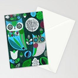 Night Owls Retro Pattern Stationery Cards