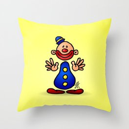 Cheerful circus clown Throw Pillow