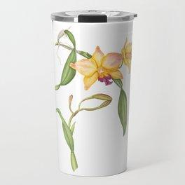Flowering yellow cattleya orchid plant Travel Mug