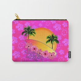 Surfer Girl Pink Tropical Flowers Carry-All Pouch