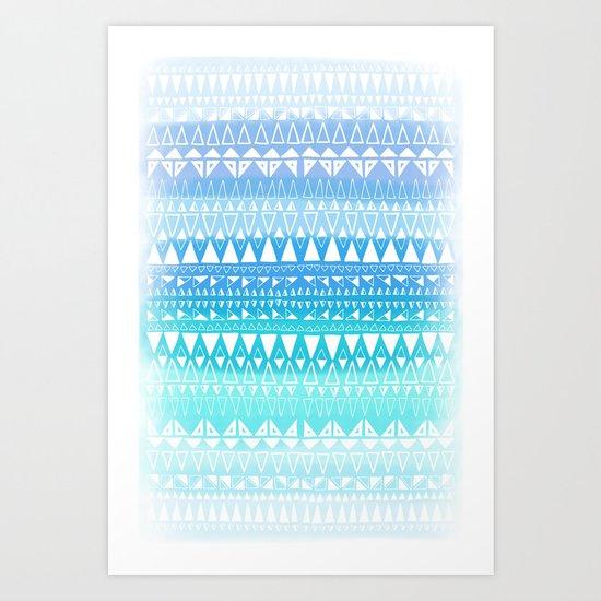 Triangle Gradient Aqua Mix Art Print