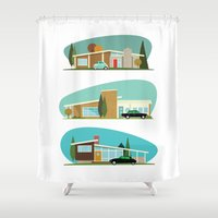 hollywood Shower Curtains featuring Hollywood Bungalows by Hand Drawn Creative