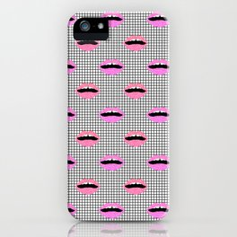 Lips - hot pink lips with grid modern abstract minimal pop art hipster urban brooklyn nashville iPhone Case