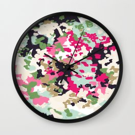 Finch - Modern abstract painting in free style modern colors navy, mint, blush, pink, white Wall Clock