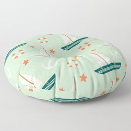 cute colorful sailboat pattern with anchor and lifebuoy Floor Pillow