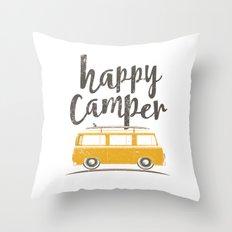 Happy Yellow Bus Throw Pillow