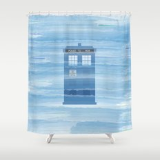 TARDIS Under the Sea - Doctor Who Digital Watercolor Shower Curtain