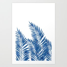 Palm Leaves Dark Blue Art Print