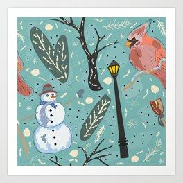 Cardinal And Snowman Art Print