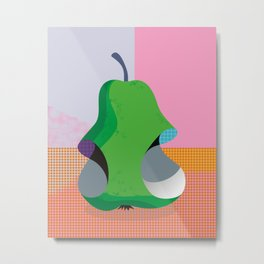 Bitten Pear Metal Print