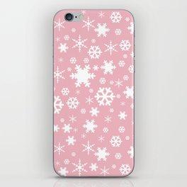 White & blush pink snowflake pattern iPhone Skin