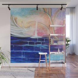 Flourescent Waterfall Painting. Waterfall, Abstract, Blue, Pink. Water. Jodilynpaintings. Wall Mural
