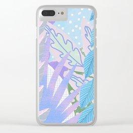 Modern Jungle Plants - Blue, Purple Clear iPhone Case