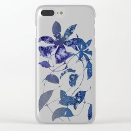 Watercolor Indigo Clematis Vine Clear iPhone Case