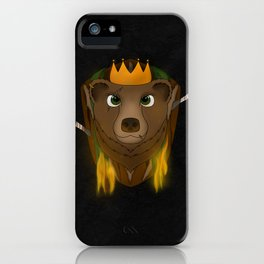 """The Warlord Bear"" Black Textured Background iPhone Case"