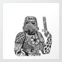 storm trooper Art Prints featuring Storm Trooper  by ATELOPHILIA DESIGNS
