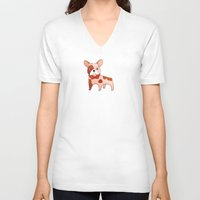 frenchie V-neck T-shirts featuring Frenchie by 52 Dogs