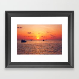 Sunset over The Maldives Framed Art Print