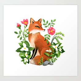 Red Fox With Wild Roses Art Print