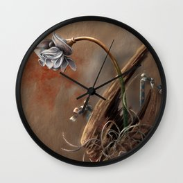 Rusted Flowers 2 Wall Clock