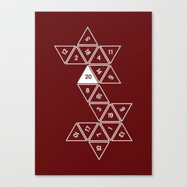 Red Unrolled D20 Canvas Print