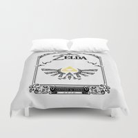 the legend of zelda Duvet Covers featuring Zelda legend - Hyrulian Emblem by Art & Be