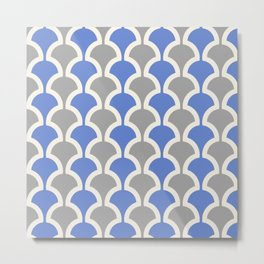 Classic Fan or Scallop Pattern 424 Gray and Blue Metal Print