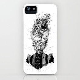 High-Class Victorian Cat (B&W) iPhone Case