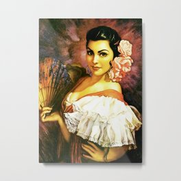 Jesus Helguera Painting of a Mexican Calendar Girl with Fan Metal Print