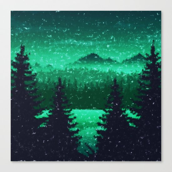 Snowing in the forest Canvas Print