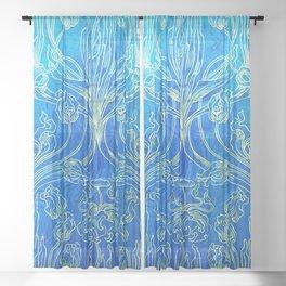 Blue,art nouveau, floral,belle epoque,vintage,chic,pattern,William Morris,Victorian,shabby chic,beau Sheer Curtain