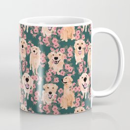 Golden Retriever and flowers on green Coffee Mug
