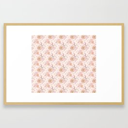 Pink Peony Kiss Floral Pattern Framed Art Print