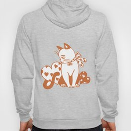 Valentine Cat with Hearts Hoody