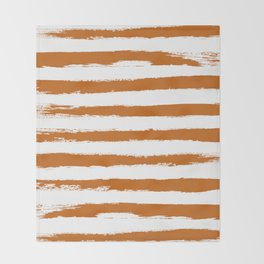 Autumn Maple STRIPES Handpainted Brushstrokes Throw Blanket