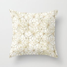 Modern gold and marble geometric star flower image Throw Pillow